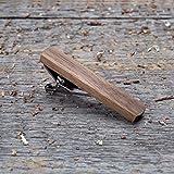 Gray Walnut Wood Tie Clip. Wooden tie bar. Custom personalized initial monogram tie clips. Natural wood Engraved jewelry for men. Wedding groomsmen groom gift. Boyfriend boss personal gift.