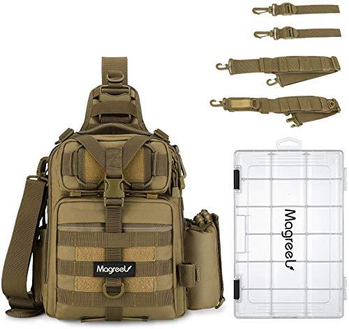 Magreel Fishing Tackle Bag, Waterproof Tackle Storage Gear Bag, Outdoor Shoulder Backpack Cross Body Sling Bag with Rod Holder and Tackle Box