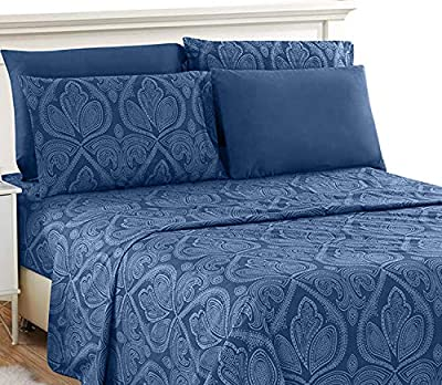 Lux Decor Collection Bed Sheet Set - Brushed Microfiber 1800 Thread Count Bedding - Wrinkle, Stain & Fade Resistant - Deep Pocket Queen Size Sheets Set - 6 PC (Queen, Paisley Navy Blue)
