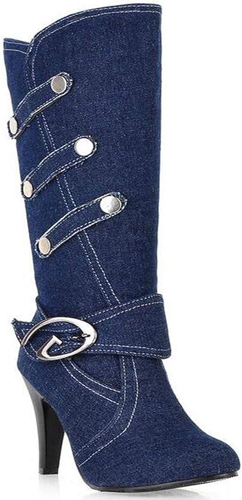 Yakoya Ladies Spring Autumn Purchase Fashion Denim Boots Half Thin Max 40% OFF Heels