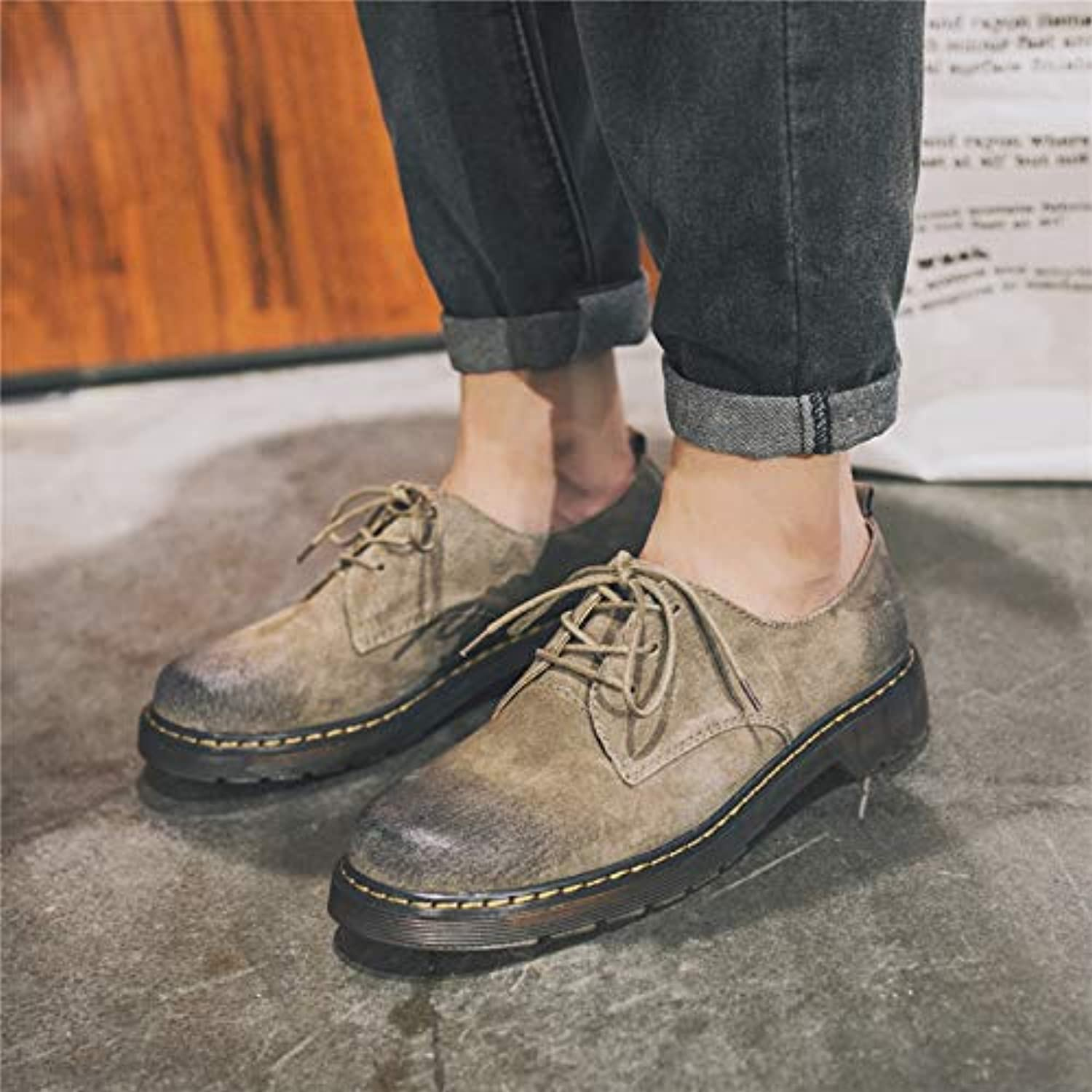 LOVDRAM Boots Men's Fashion Low To Help Leather Martin Boots Men'S Port Wind Retro Big shoes Men'S Boots shoes Fashion Boots