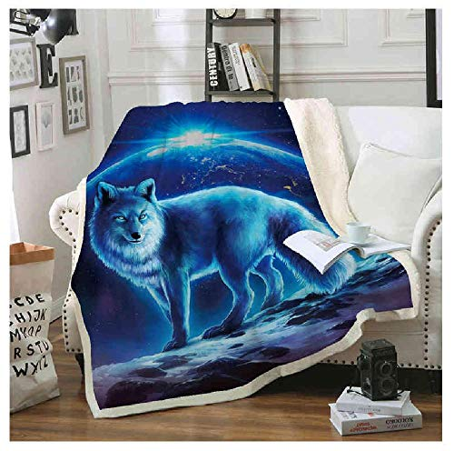 FLYAWAY Sofa Blanket Cushion Yoga Mat Blanket Air Conditioner Is Thickened Double-Layer Plush 3D Digital Printed Blanket Wolf Series 150Cmx180Cm
