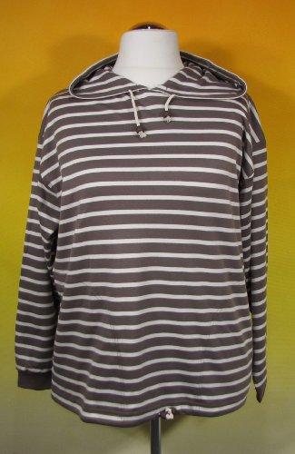 modAS Bretonisches Damen Kapuzenshirt Streifen Hemd taupe/natur gestreift 2900_39 Größe 36 (Damen)