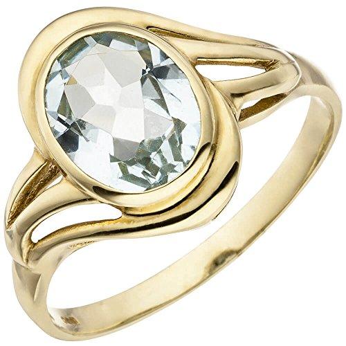Ring Damenring mit Aquamarin oval hellblau blau 585 Gold Gelbgold Goldring, Ringgröße:Innenumfang 60mm ~ Ø19.1mm