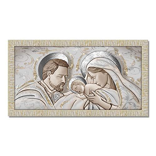 Lupia Quadro con Cornice Sacra Famiglia Giovy Bianca Oro 60x110 cm The Kiss Ceramic Mix Glitter
