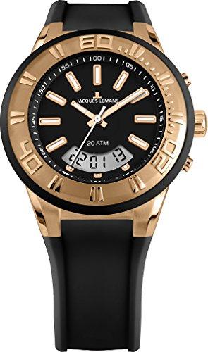 Jacques Lemans Unisex Erwachsene Armbanduhr Multi Zifferblatt Quarz Silikon 1-1786G
