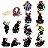 Scratch Art,LANMOK 48 hojas Conejo Papel de Rascar Niños Manualidades para Rascar Dibujo Scratch Láminas Regalo para Pascua Cumpleaños Infantiles Premios Especiales(12 palitos de Madera y 48 Cintas)