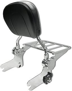 TJMOTO Adjustable Detachable Chrome Passenger Backrest Sissy Bar with Flat Luggage Rack for 1997-2008 Harley Davidson Touring