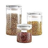 ZANZAN Juego de 3 botes de vidrio de borosilicato alto cilindro hermético contenedor de almacenamiento de alimentos tarro con tapa ABS para cocina (color: juego de 3 piezas)
