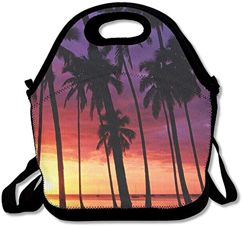 Neoprene Lunch Tote - Beach Sunset Coconut Trees Waterproof Reusable Lunch Bags Boxes For Men Women Adults Kids Toddler Nurses With Adjustable Shoulder Strap - Best Travel Bag