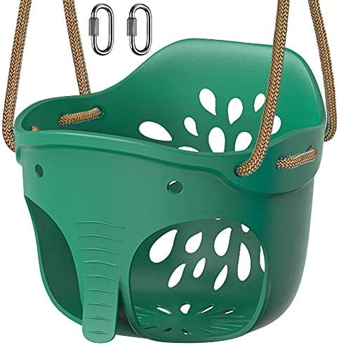 Dolibest High Back Full Bucket Toddler Swing Seat with Adjustable Rope Cute Elephant Playground product image