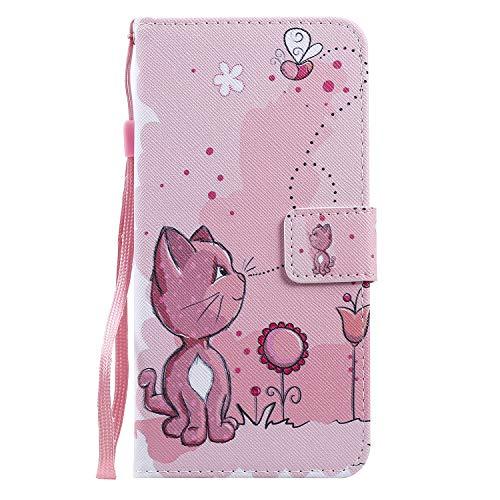 Miagon Flip PU Leder Schutzhülle für Samsung Galaxy S9 Plus,Bunt Muster Hülle Brieftasche Case Cover Ständer mit Kartenfächer Trageschlaufe,Katze Biene