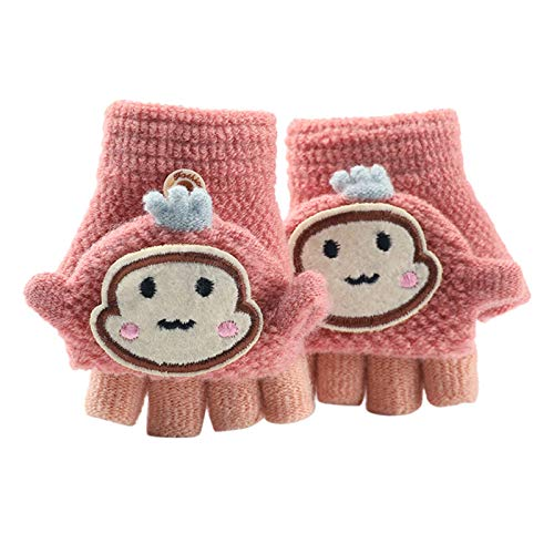 Asalinao Soft Cabrio Flip Top Handschuhe Kinder Baby Winter Warm Strick Fingerless Mitten, Süße Cartoon warme Handschuhe für Kinder, süße Handschuhe für Kinder von 1-3 Jahren (Rosa)