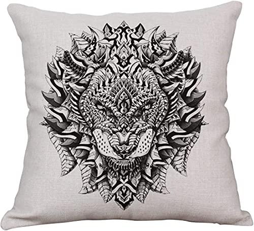 Mazu Homee --Funda de almohada decorativa de cuatro piezas, funda de cojín de lino de algodón cuadrado, funda de almohada para sofá al aire libre de 45,7 x 45,7 cm
