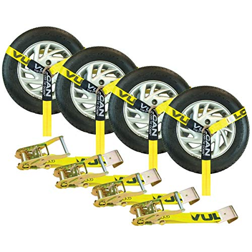 VULCAN Car Tie Down - Flat Hooks - Lasso Style - 2 Inch x 96 Inch, 4 Pack - Classic Yellow - 3,300 Pound Safe Working Load