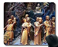 パーソナライズされたマウスパッド、Wanfa生まれ、すべて運命、ステッチエッジを持つ仏教のマウスパッド