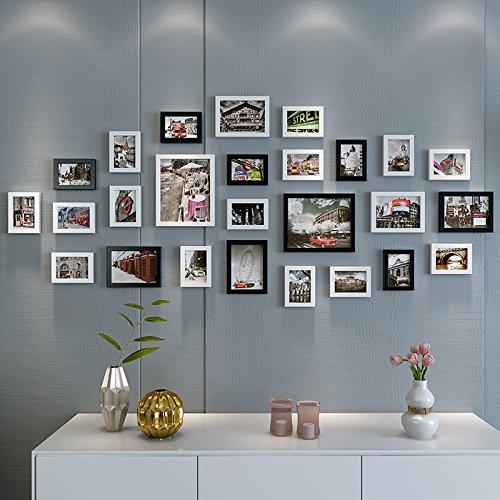 Ensemble de cadre photo 26 à cadre noir mur mur auto-adhésives papier décor de mur de salon Les chambres TV wall décoration murale affiches 3D stéréoscopique