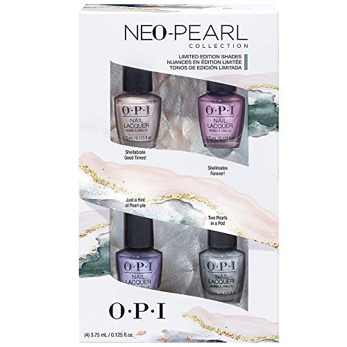 OPI Nail Lacquer Nagellack 4er Mini Set - langanhaltender und splitterfester Farblack - exklusive OPI ProWide Brush, 4 x 3,75 ml - limitierte Neo Pearl Collection, 20 g