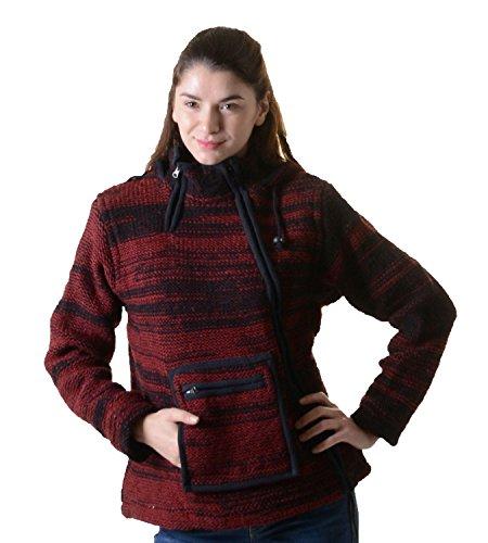 Damen Wolljacke Hippie Goa Strickjacke mit Fleecefutter und Kapuze Schwarz/Rot, Größe/Size:XXS