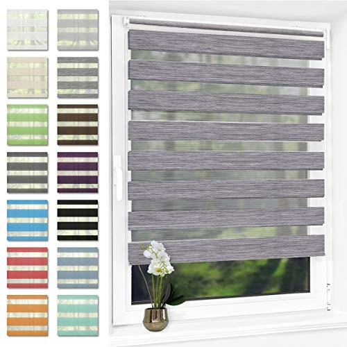 Doppelrollo klemmfix ohne Bohren Duo Rollo für Fenster,lichtdurchlässig und verdunkelnd Wandmontage Sichtschutz, 40 x 120 cm(BxH) Marmor Grau