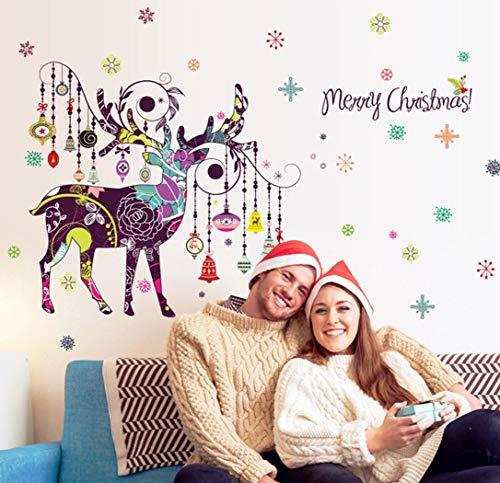 QTXINGMU Noël Couleur Deer Mural Nordic Salon Canapé Noël Chevet Amovible Décoration Fond