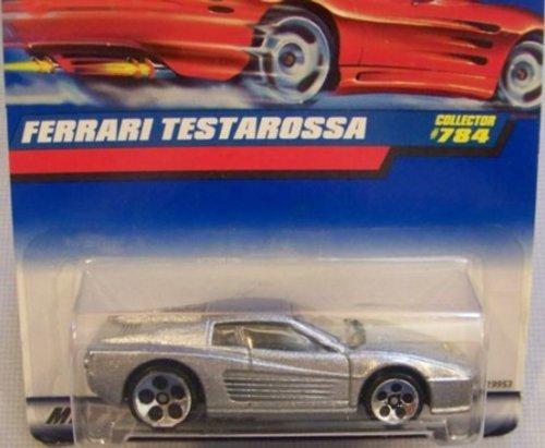 Hot Wheels Silver Ferrari Testarossa #784 on RED CARD 5-Dot Whls 1:64 Scale