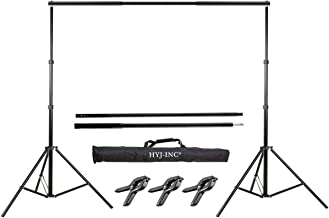 HYJ-INC Photo Video Studio 10 Ft Adjustable Background Stand Backdrop Support System Kit with Photography Background Holder Carry Bag