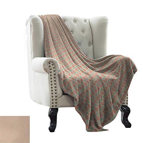 BelleAckerman manta de viaje vintage, patrón geométrico bicolor con rayas de acuarela y lunares pinceles, coral verde mar pálido para cama y sofá de fácil cuidado de 35'x60'