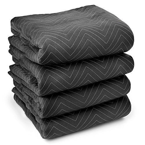 """Sure-Max 4 Moving & Packing Blankets - Ultra Thick Pro - 80"""" x 72"""" (65 lb/dz weight) - Professional Quilted Shipping Furniture Pads Black"""