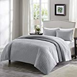 Comfort Spaces Kienna Quilt Coverlet Bedspread Ultra Soft Hypoallergenic All Season Lightweight Filling Stitched Bedding Set, Full/Queen 90'x90', Gray