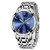 Relojes Hombres LIGE Marca Reloj de Cuarzo analógico de Acero Inoxidable a Prueba de Agua Hombre Fecha Vestido Casual de Negocios Reloj Hombre de Pulsera Reloj de línea Azul quadrante BLU