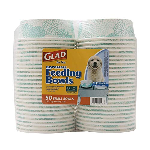Glad for Pets Disposable Feeding Bowls | Small Dog Bowls in Teal Pattern | 1.75 Cup Feeding Size, 50 Count - Dog Bowls are Great for Dry and Wet Dog Food or Water