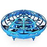 Odoukey-Joysticks/roues UFO Drone Mini RC Hélicoptère Pour les enfants Jouet volant à la main avec LED Light Round Blue