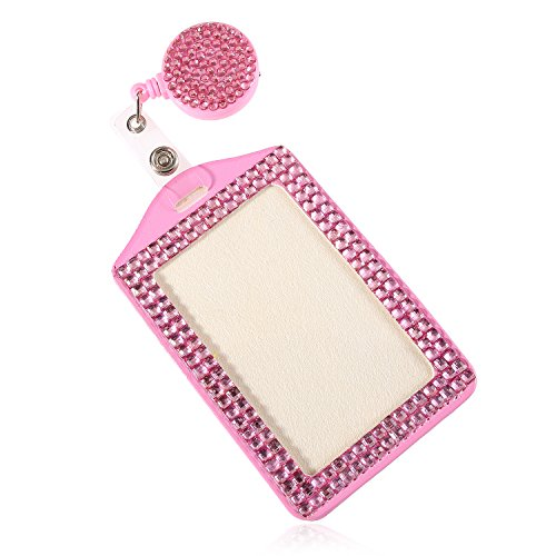 Fashion Baby Pink Bling Crystal Gift Neck Lanyard Cute Rhinestone Retractable Badge Reel Clip W/Vertical ID/Name Badge Card Holder for Nurse,Teacher,Employee,Friends,Exhibition