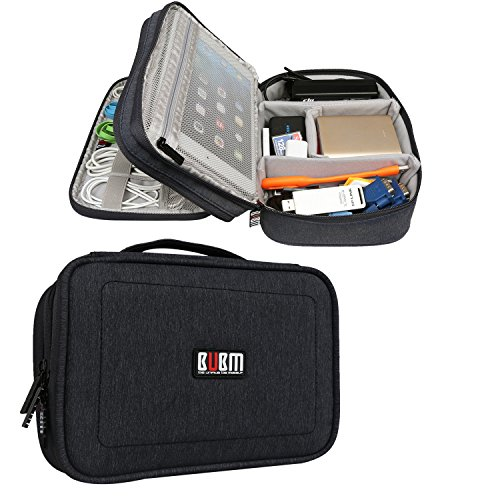 """BUBM 2 Layer Electronics Organizer, Universal Electronic Accessories Travel Case Storage Bag for Cables, Cord, USB Flash Drive, Battery and More, A Mesh Zipper Pouch Fits for 7.9"""" iPad Mini, Black"""