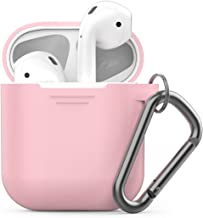 PodSkinz Keychain AirPods Case with Carabiner Compatible with Apple Airpods 1 & AirPods 2 [Front LED Not Visible] (Pretty in Pink)
