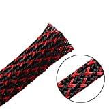 25ft - 1/8 inch PET Expandable Braided Sleeving – Blackred – Alex Tech braided cable sleeve