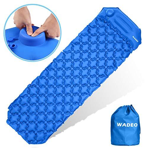 WADEO Camping Isomatte Schlafmatte, Ultraleichte Isomatte für Outdoor, Wasserdicht & Kompakt Aufblasbare Luftmatratze tragbare Faltbar mit Kissen für Wandern,Backpacking,Camping,Strand, Blau