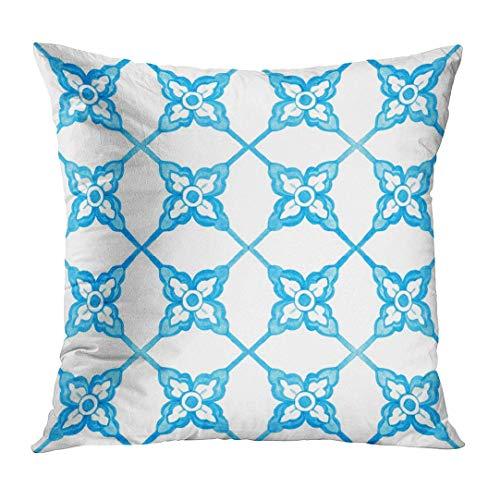 Throw - Funda de almohada (cuadrada, 18 x 18 pulgadas), diseño floral, geo, portugués, azulejo de acuarela, color azul arabesco, decoración del hogar, funda de almohada cuadrada (dos lados)