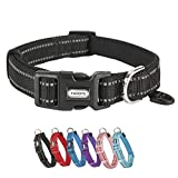 YUDOTE Dog Collar Small Strong Reflective Nylon Webbing with Soft Comfy Neoprene Padded Linning for Small Dogs Daily Use,Black