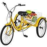 Happybuy Single Three Wheel Bike Cruise Bike 24inch Seat Adjustable Trike with Bell Brake System and Basket Cruiser Bicycles Large Size (Yellow Single Speed)