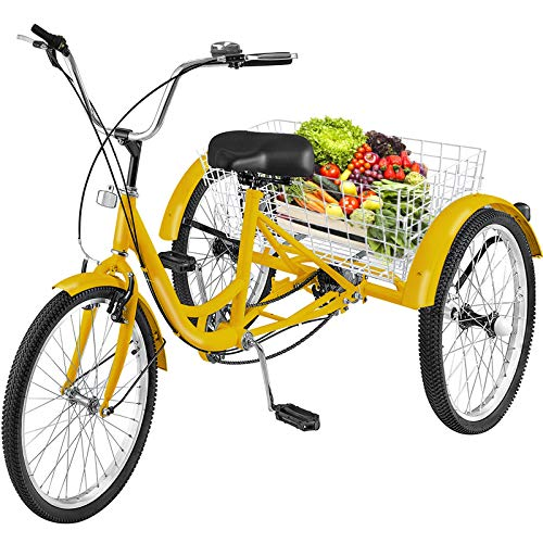 industrial trikes Happybuy Adult Tricycle 24 inch, Three Wheel Bikes 1 Speed, Yellow Tricycle with Bell Brake System, Bicycles with Cargo Basket for Shopping.
