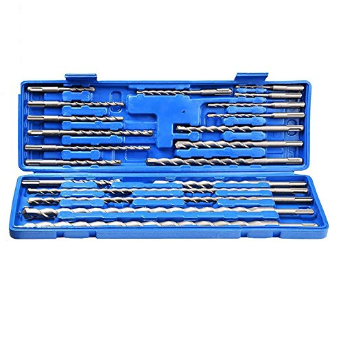 YUXIwang Drill 20pcs Electric Hammer Drill Bit Set Sds chisel Plastic Box Shank Impact Rotary Concrete Masonry Drilling Grooving Woodworking tools