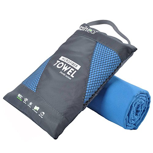 Rainleaf Microfiber Towel, 20 X 40 Inches. Blue.