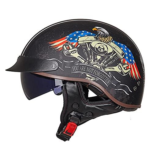DLXYch Cascos de motocicleta, Hombre Y Mujer Personalidad Harley Half Helmets, Scooter Four Seasons Scooter Cascos, Transporte Ligero Medio Cascos XL M