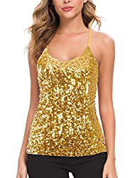 Gold Sequin Party Strappy Tank Top Sparkle Cami