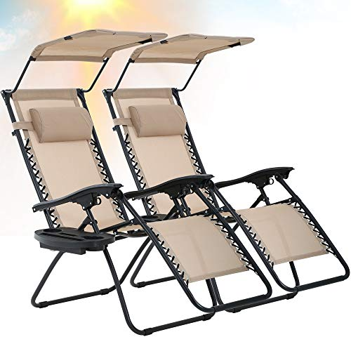 Best Home Product Zero Gravity Chair 2 Pack Patio Chairs Lounge Chair Outdoor Adjustable Folding Recliner with Canopy Sunshade and Cup Holder Reclining Chairs for Beach Garden Lawn Pool Camping,Tan