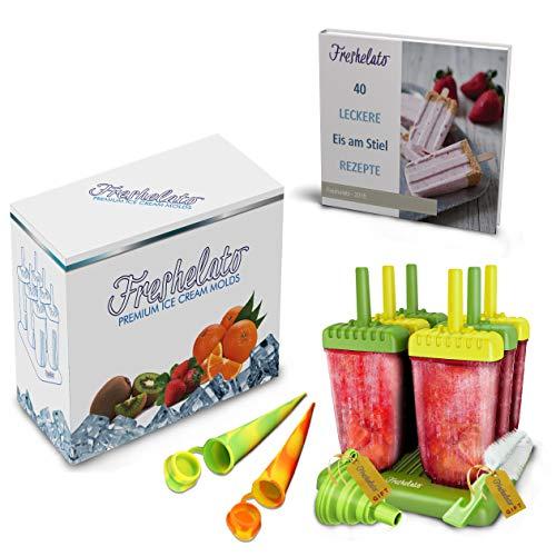 Freshelato - EIS am Stiel/Wassereisformen Set (6 x 70ml) + 2 x Silikon EIS Pop Form + Trichter + Bürste + Rezeptbuch (Ebook auf Deutsch) (Grün-Gelb)