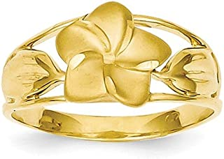 Brilliant Bijou Genuine 14k Yellow Gold Satin & Diamond-Cut Plumeria Ring Size 6