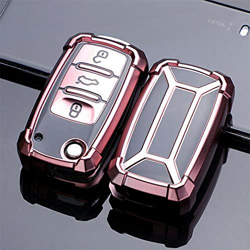 para VW Volkwagen Polo Bora Tiguan Passat Golf 6 Lavida Scirocco Protección de TPU Suave Carcasa de la Llave del Coche Cubierta de la Carcasa Accesorios para automóviles Rosa